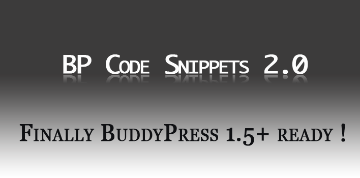 BP Code Snippets 2.0 : finally #BuddyPress 1.5+ ready!