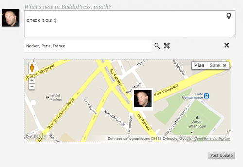 Check this out : BuddyPress check-ins !