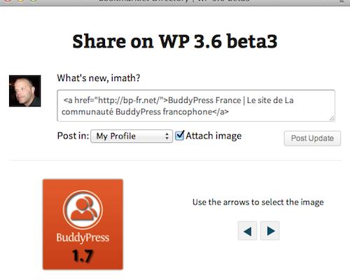 BP Bookmarklet 2.0 est prêt pour #BuddyPress 1.7